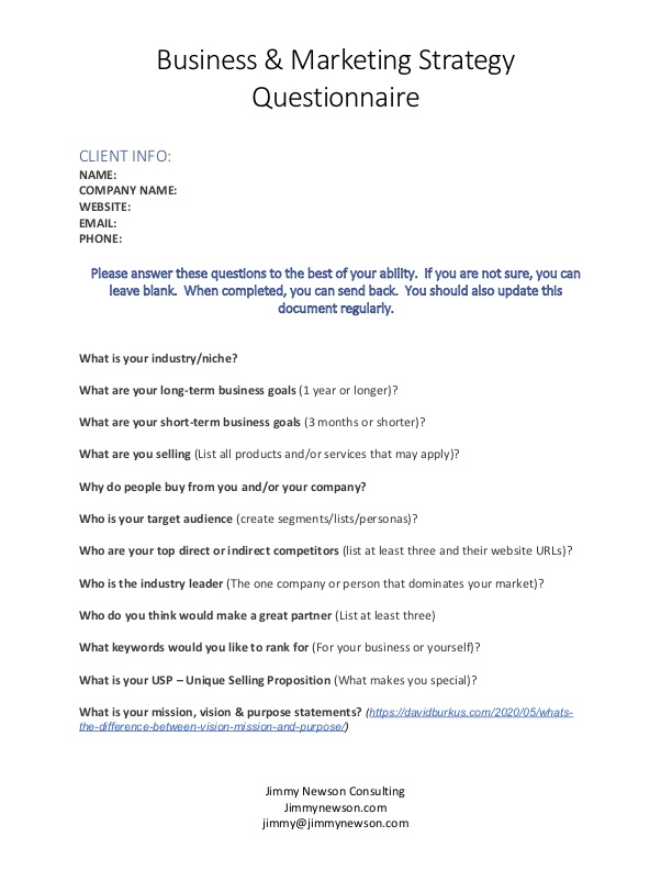 Business Strategy Consult Questionnaire - Jimmy Newson